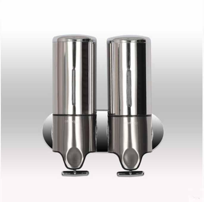 Yeni Paslanmaz Çelik Duvara Monte Yuvarlak Şekil Sıvı Sabunluk Çift Kutu 1000 ML