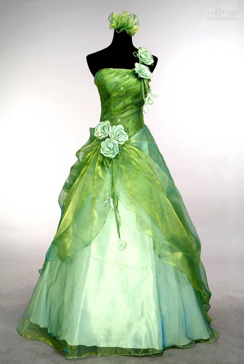 Großhandel Eine Schulter Hochzeitskleid Grün Atemberaubende Abschlussball /  Ball Abendkleid * Benutzerdefiniert * Größe: 20 20 Von Feng20, 20,20 €