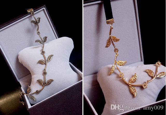 Varejo 5 pcs moda hot style faixa de cabelo senhora ouro Folha de oliveira cabeça head piece cadeia folhas de ouro faixa elástica faixa de cabeça