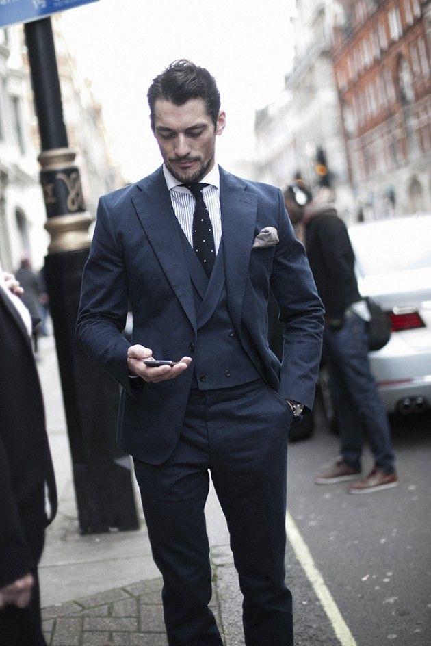 smart navy blue suit mens Wedding suits notched Lapel mens wedding ...