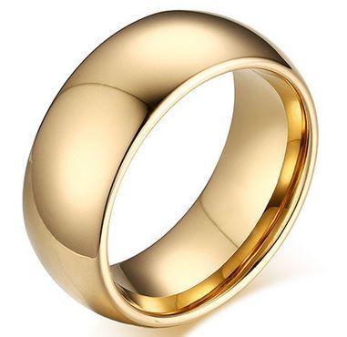 Anel de casamento Cúpula Banhado A Ouro Anel De Casamento de Carboneto De Tungstênio para homens e mulheres Tamanho 6-13 venda Quente nos EUA e na Europa