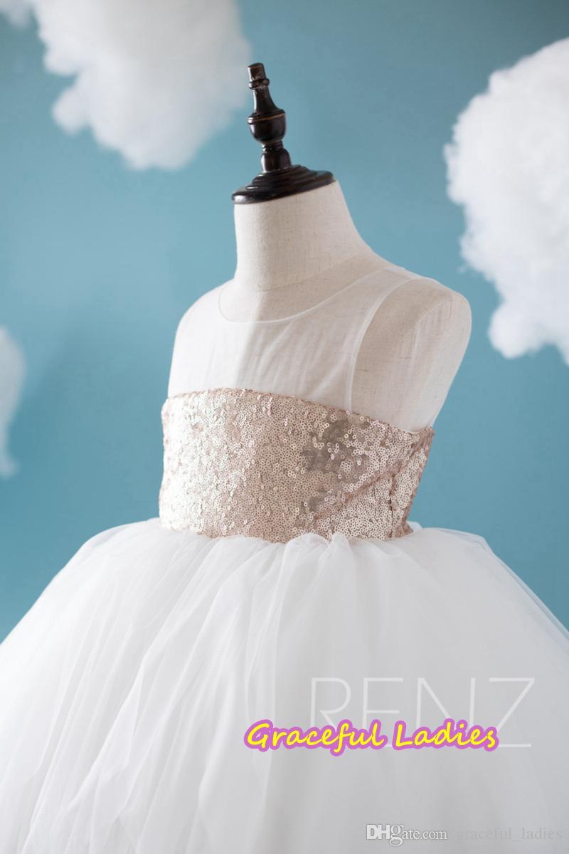 Peach Sequins Flower Girl Dresses White Soft Tulle Ball Gown Kids ...