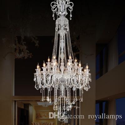 205 centimetri lungo grande lampadario E14 lampade a LED moderno di lusso di grandi dimensioni lampadari di cristallo villa hotel sala da pranzo foyer luce doppio strato 12 lampadine
