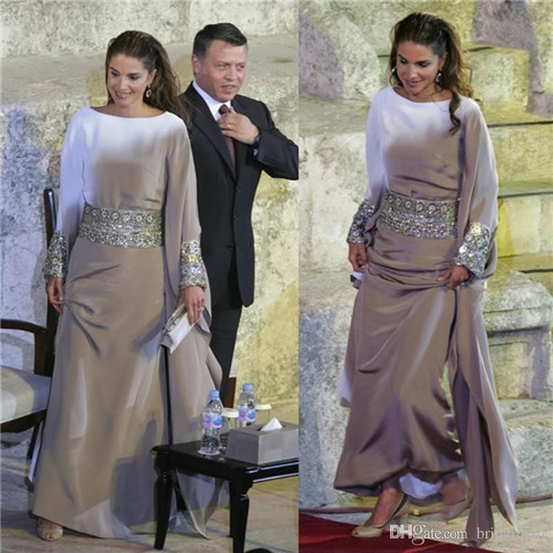 Zilveren lange mouwen Moslim avondjurken met kristallen sjerp Arabische porm jurk islamitische abaya Marokkaanse Dubai Kaftan Formele avondjurken