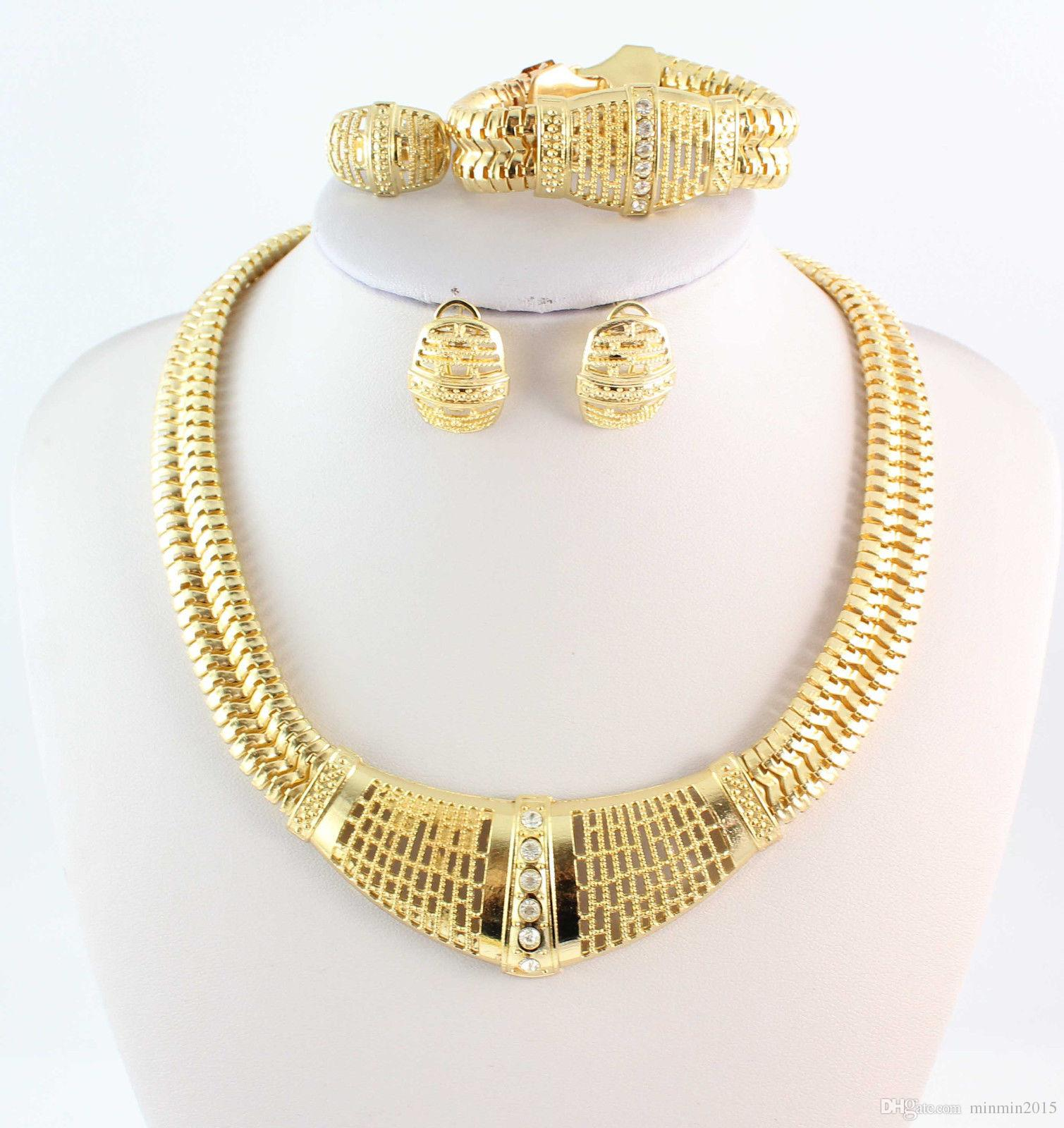 أزياء العلامة التجارية الجديدة 18K مطلية بالذهب قلادة سوار حلقة القرط مجوهرات واضح كريستال خمر مجوهرات الزفاف مجموعات الزفاف