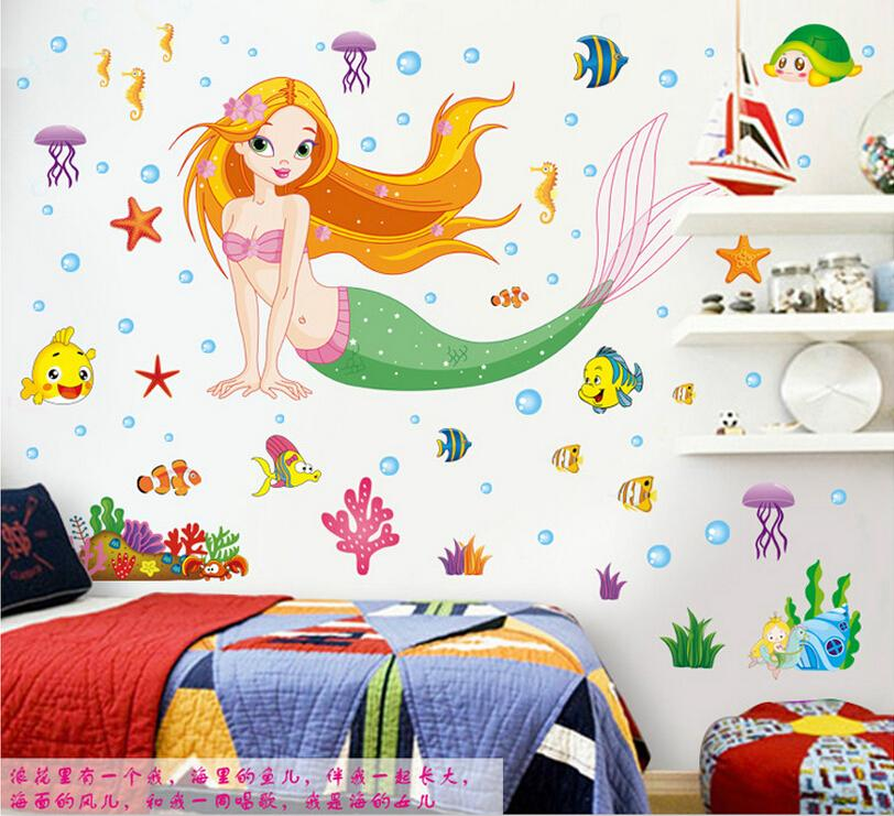 50cmx70cm PVC Mermaid Girl Wall Sticker Vinyl Mural Decal For Kids Room Decor US