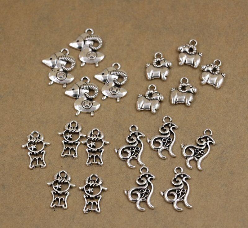 Sıcak ! 200 pcsAntique gümüş Çinko Alaşım Karışık Sevimli koyun Charms Kolye Takı DIY