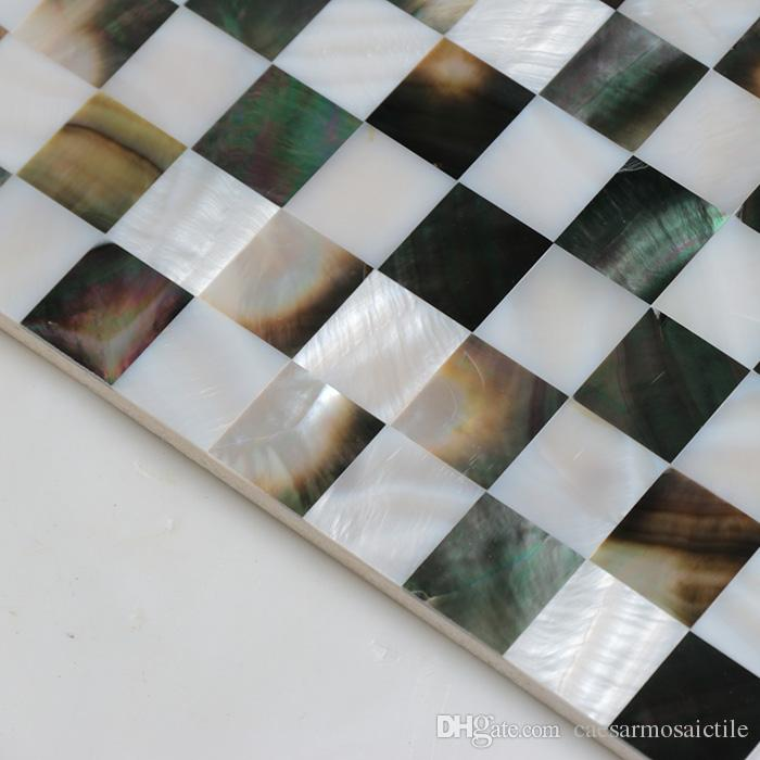 [FREE SHIPPING] 20mm x 20mm chessboard pattern, Natural color mother of pearl shell Tile , fresh water & Blacklip shell tile#MS041