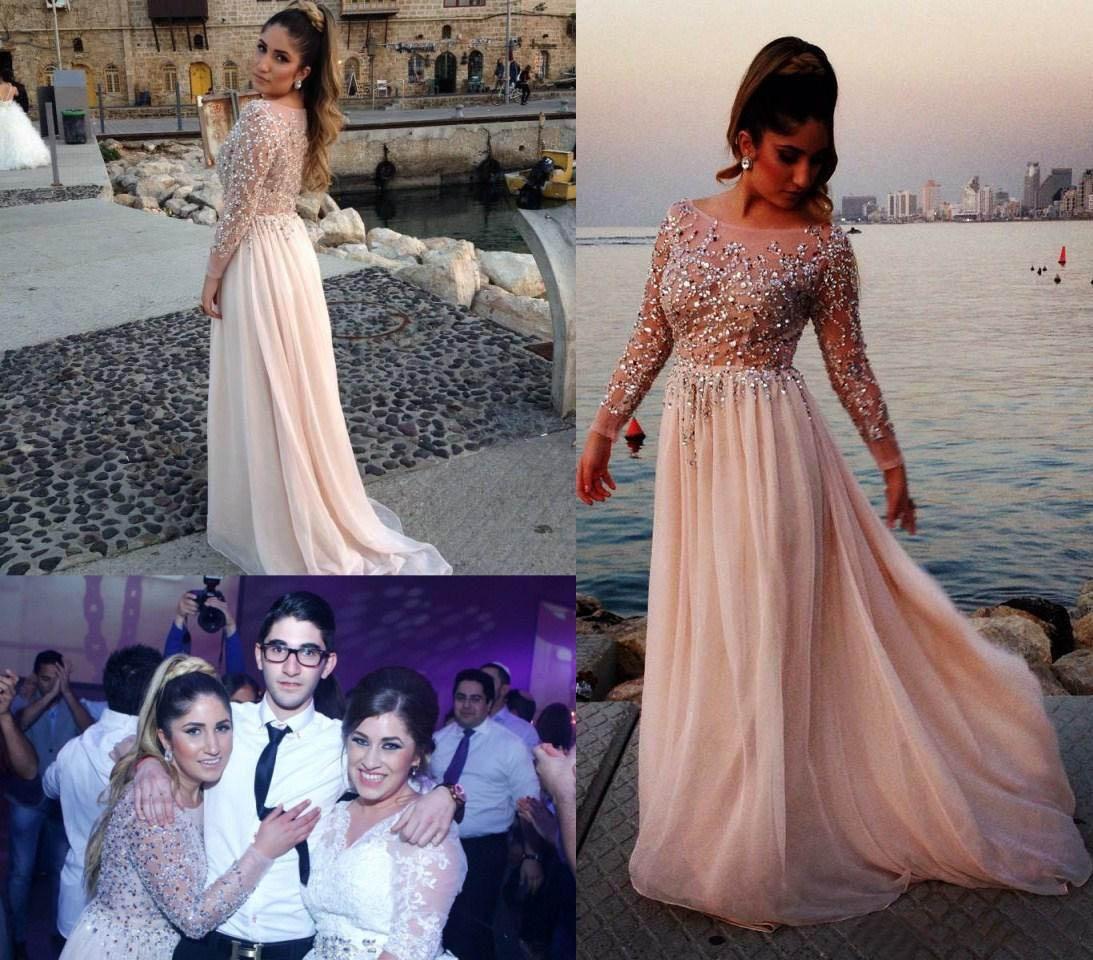 Elie Saab Kristall Perlen Prom Kleider 2019 Sheer Bateau Neck Long Sleeves A-Line Kapelle Zug Chiffon Abendkleider Promi Dressess