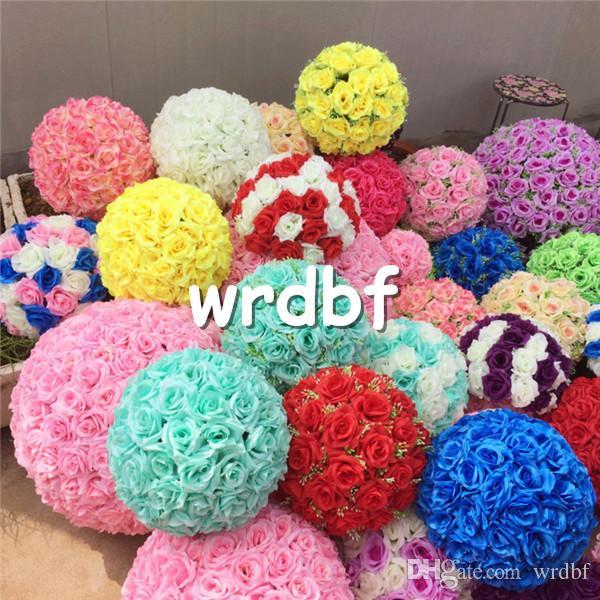 Silk Rose Flower Balls 4pcs 20cm Diameter Fake Kissing Balls 24 Color Designs for Wedding Shops Artificial Decorative Flowers
