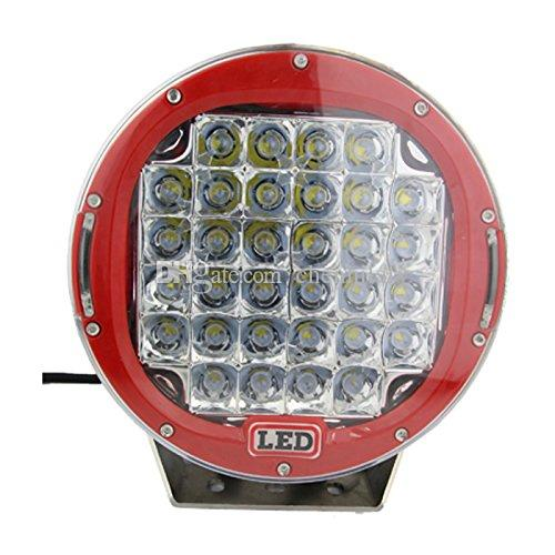 2PCS 9inch 96W CREE LED Work Light Flood Beam Round Red for Driving Offroad 4WD