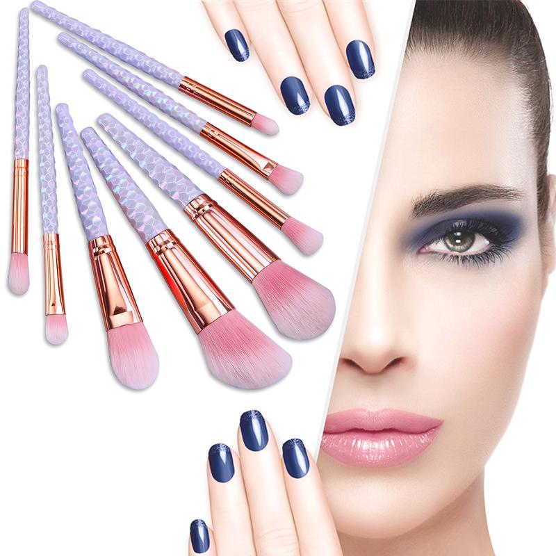 Mileegirl 8pcs Diamond Sprial Makeup Brush Set Soft Pink Foundation Powder Face Eyes Brushes Portable Beauty Make Up Brush Tools