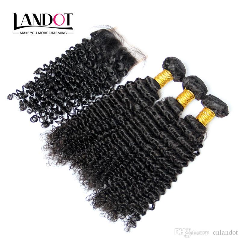 5Pcs Lot Cambodian Kinky Curly Virgin Hair With Closure 7A Unprocessed Deep Curl Human Hair Weave 4Bundles And 1Piece Lace Closures Size 4x4