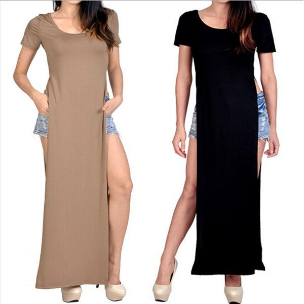 Verano Casual Mujeres Solid High Slit Long Tee Camiseta Hip Clubwear Party Slim Bodycon Sexy Maxi vestido vestidos femininos