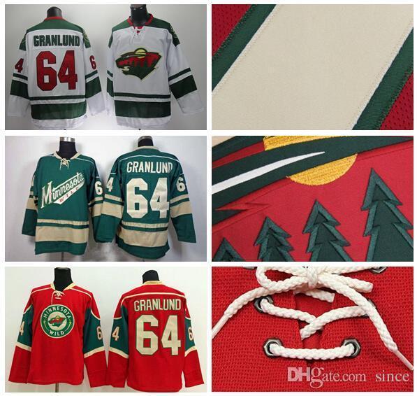 2016 Новый, Дешевые Продажа 64 Микаэль Гранлунд Джерси Миннесота Дикий Хоккей Трикотажные Изделия Гранлунд Зеленый Красный Белый Сшитые Джерси Высокое Качество На S