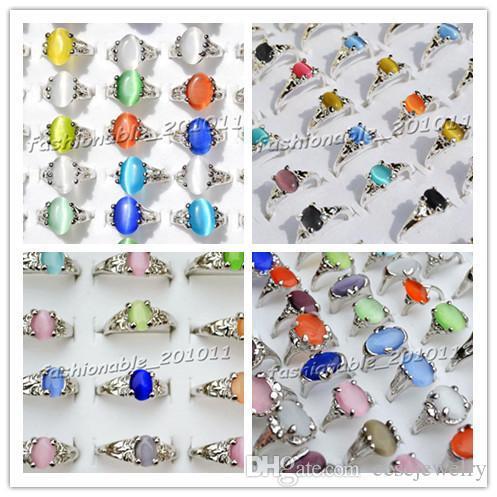 4style Colorido Natural Olho de Gato Pedra Preciosa Tom de Prata Anéis das Mulheres Novas Jóias 100 pçs / lote [R0010 * 25 + R0029 * 25 + R0009 * 25 + R0135 * 25]