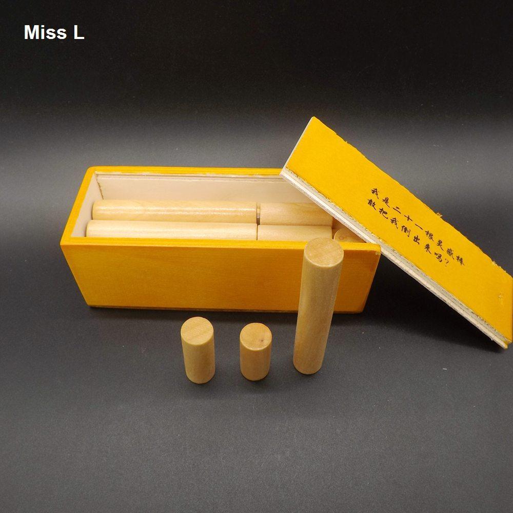 21 قطع مستوحاة عصا في صندوق خشبي هدية اللعب ، الاستخبارات الكبار تجميع لعبة كونغ مينغ قفل هدية كيد الطفل تعليم الدعامة لعبة