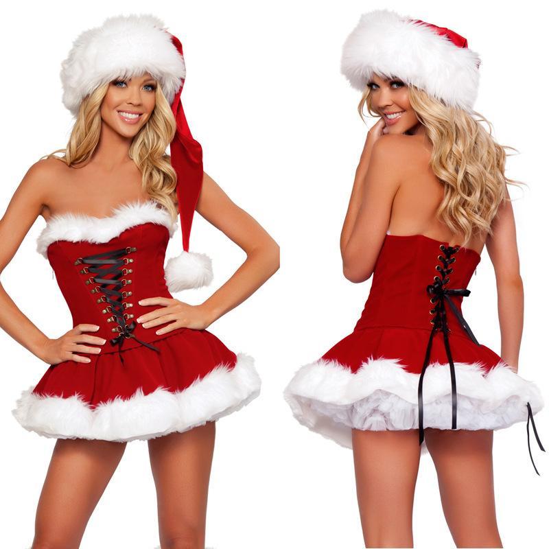 151206 2015 сексуальные костюмы для взрослых Красный рождественские платья Хэллоуин костюм клубная одежда для женщин фэнтези игры униформа плюс размер M - 4XL XXL