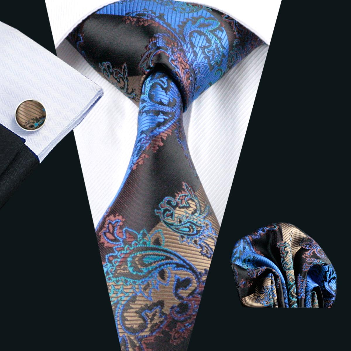 Business Silk Tie Hanky Cufflinks Set Free Shipping Mens Silk Jacquard Woven Classic Casual Necktie N-0268