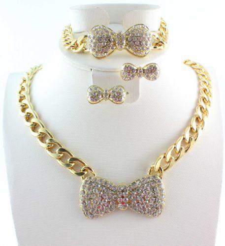 Moda Pozłacane Zestawy Biżuterii Chunky Chain Pełna Rhinestone Bow Naszyjnik Bransoletka Kolczyk Dla Kobiet