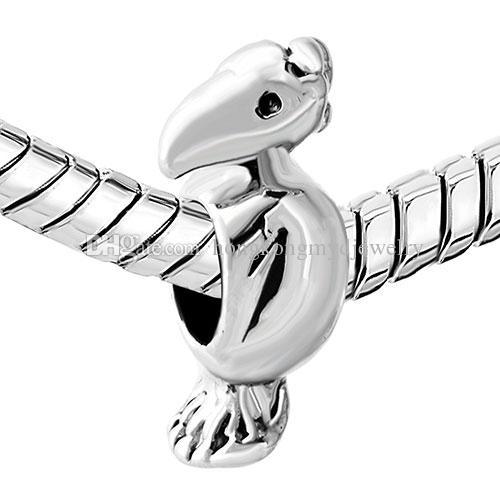 Оптовая и розничная дурацкий попугай животных шарик в родий серебряный цвет покрытия Шарм Fit Pandora браслет