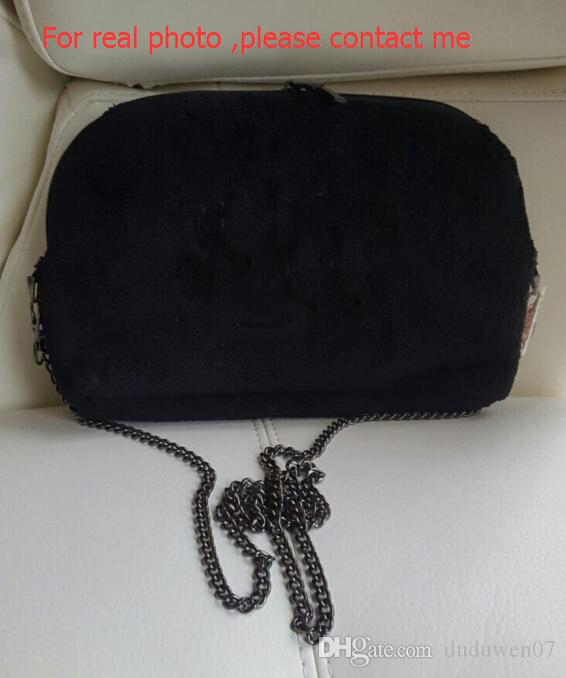 Classic Black Terry Cloth Chain Bag Counter gift Fashion women bodycross bag Cosmetic Makeup Storage Case Good quality with tag
