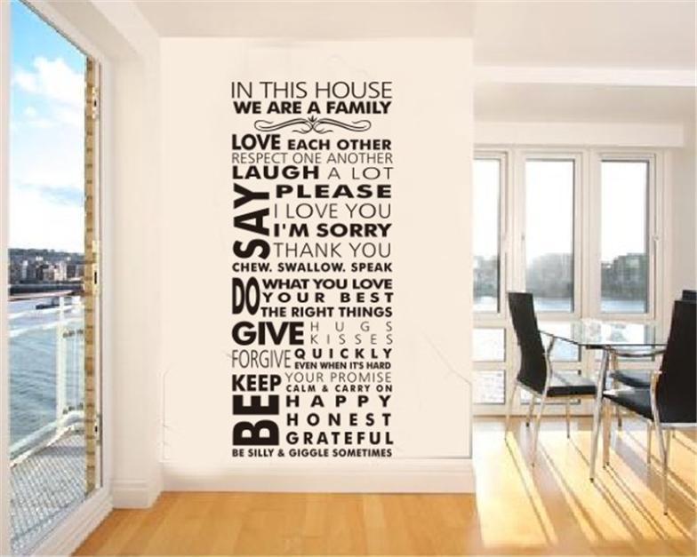 نحن الأسرة غرفة المعيشة ديكورات المنزل اقتباس الحائط الشارات zooyoo8085 قواعد المنزل diy نوم للإزالة الفينيل ملصقات الحائط