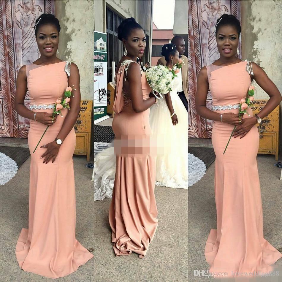2018 Scoop Neck largos vestidos de dama de honor Coral Sleevelss gasa piso longitud dama de honor Vestido de Guest Gown