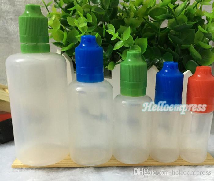 1000pcs PE soft style 5ml 10ml 15ml 20ml 30ml 50ml 100ml 120ml bottiglia di plastica con contagocce e-cig con punta a prova di manomissione a prova di bambino