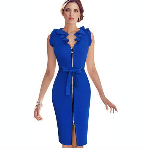 Lcw New Fashion Womens Elegant Frill Flounced Belted Bow Zipper Front Party Cocktail Wear to Work Sheath Pencil Fitted Dress