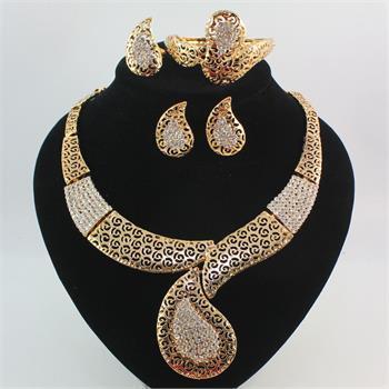 Conjuntos de jóias 18 K De Ouro Enchido De Cristal Austríaco Antigo Colar De Cultura Egípcia Pulseira Brincos Anel Conjunto De Jóias