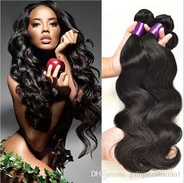 Onda do corpo Mink brasileira Remy Human retas tece cabelo 100g 3pcs / PC / lot Duplo tramas Natural Preto extensões do cabelo Virgin Humano Cor