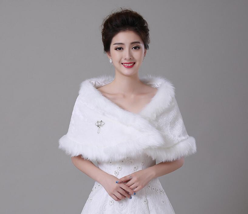 Red Winter Bridal Wraps Warm Soft Faux Fur Shrug Shawl White Bride Prom Party Bridal Women Bolero With Brooch