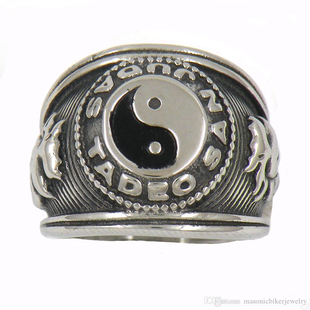 Fanssteel Edelstahl Vintage Herren oder Wemens Schmuckzeichen Chinesische Taoismus Ying Yan Symbol Ring 14W13