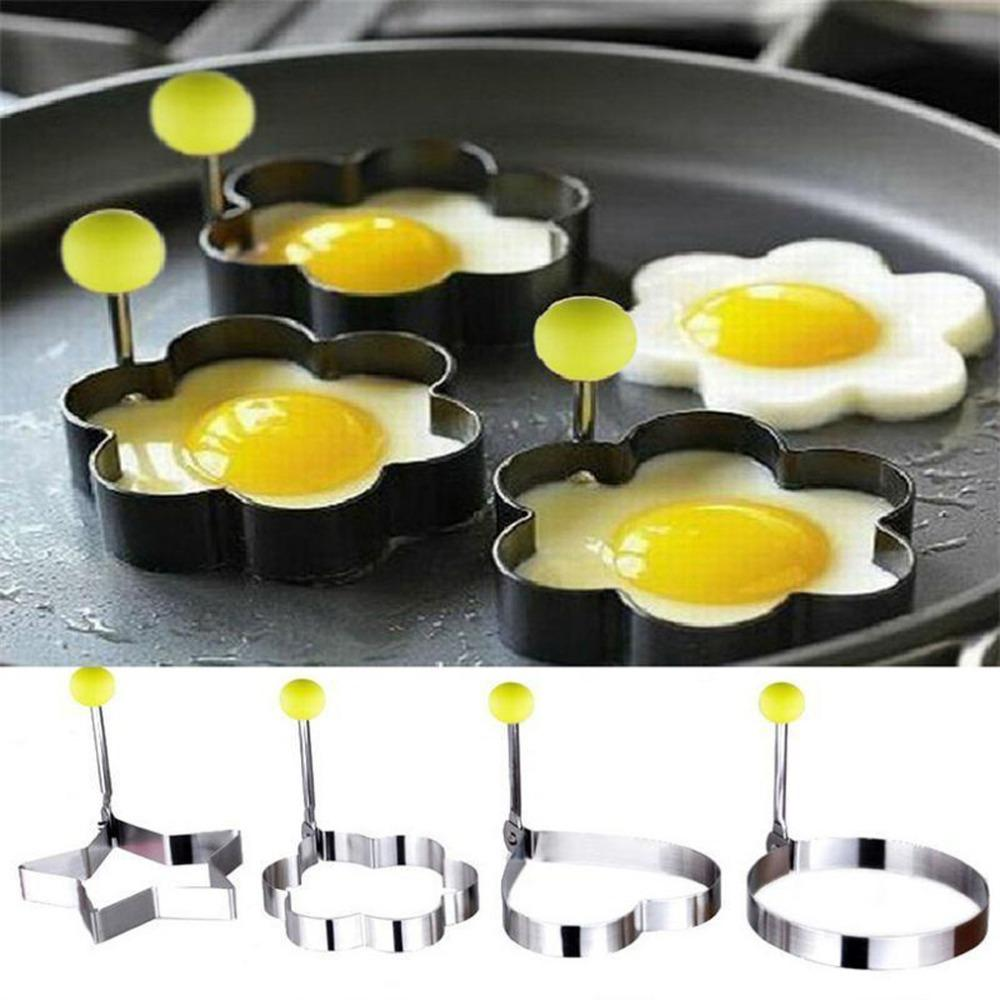 1 Pc Stainless Steel Egg Shaper Egg Mold Cooking Tools Pancake Molds Ring Heart Flower Kitchen Gadget Free Shipping