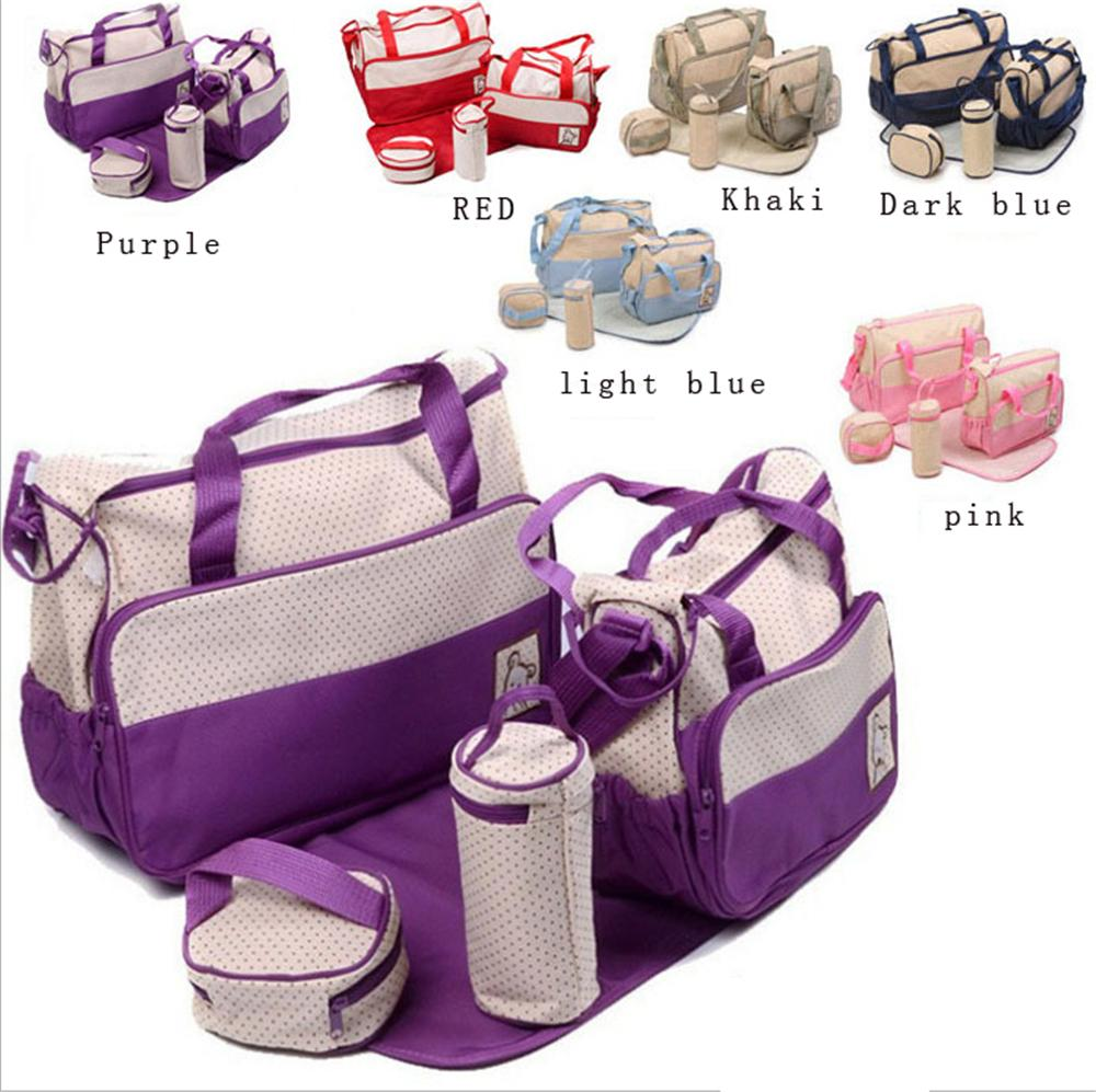 5Pcs Baby Nappy Changing Set Mummy Bags Multifunctional Large Capacity Shoulder Light Pink