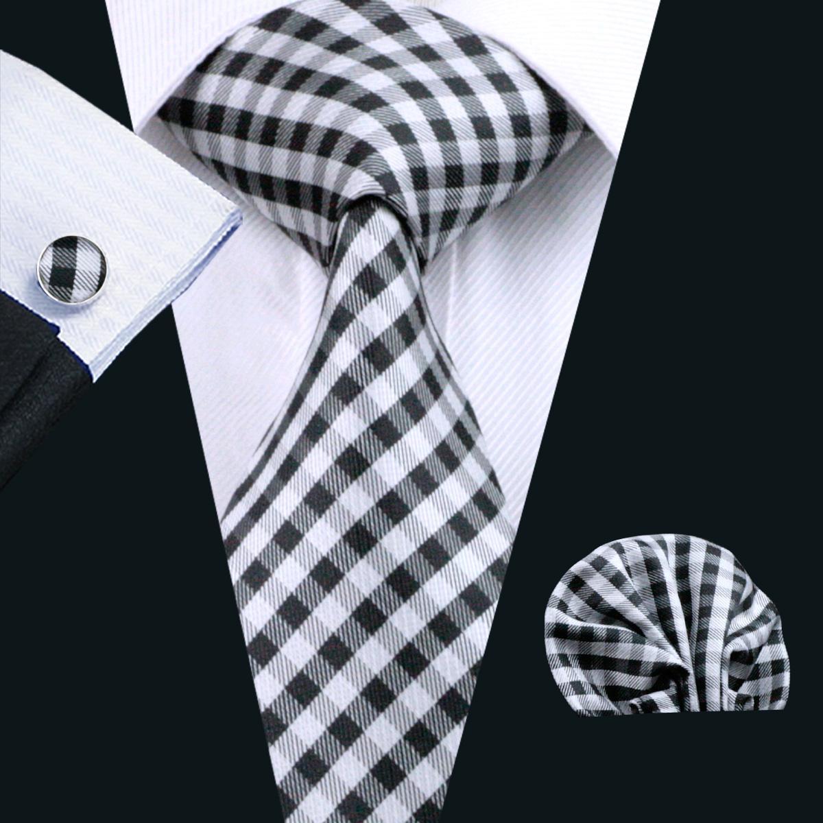Silk Mens Tie Set Black Plaid Pocket Square Manchetknopen Klassieke Zijde Jacquard Geweven Meeting Business Casual stropdas N-1024