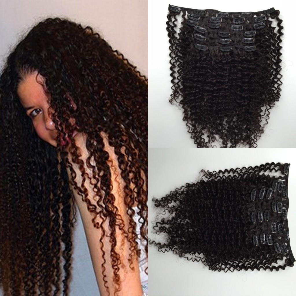 Bonito cabelo crespo kinky virgem peruano grampo de cabelo em 7 pçs / set preto clipe em extensões de cabelo real humano cabelo 120 g / set