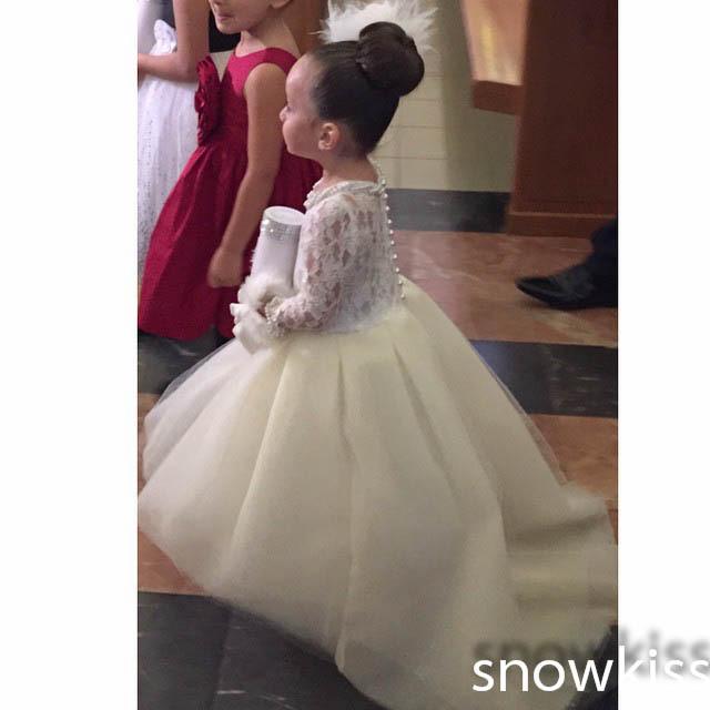 Bianco / Avorio Maniche lunghe Alto Basso con perline lunghe Perle perline Flower Girl Dress For Wedding abito per bambini