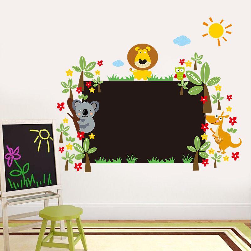 New Cute Animals Blackboard Wall Art Mural Sticker Kids Boys Girls Room Nursery Wall Decor Poster Graphic Cartoon Chalkboard Wall Applique
