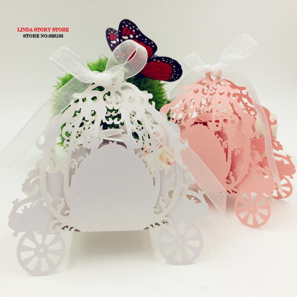 All'ingrosso 2016 nuovo laser 50pcs zucca tagliata trasporto di nozze favore Bomboniera Scatola, souvenir-baby-doccia regalo baby shower party supplies