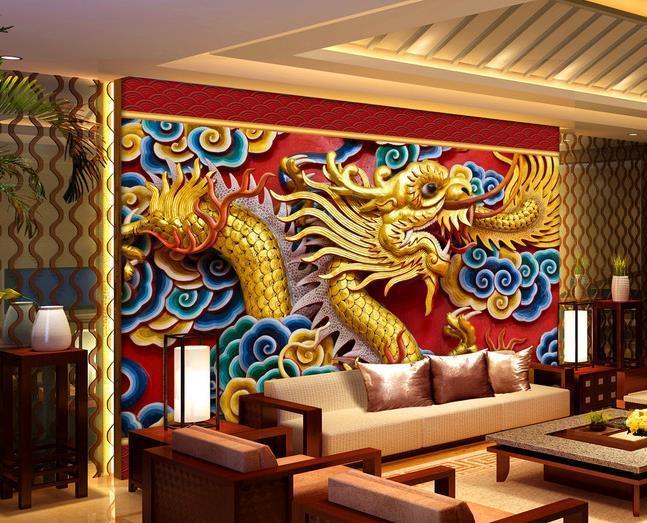 Custom photo wallpaper Large 3D sofa TV background wallpaper mural wall Dragon clouds 3d mural wallpaper 20156028