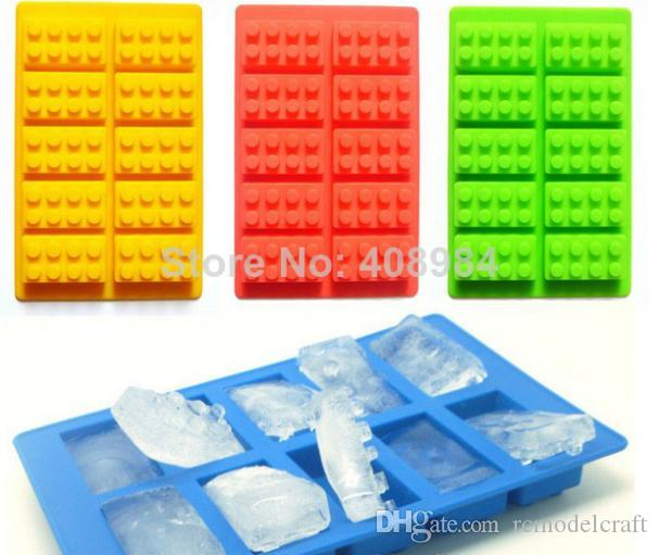 10pcs creative DIY Brick Shaped Silicon budding Ice Cube fruit Tray + 10pcs Mini Robot Figure Silicone Chocolate Cake Mold Tray.