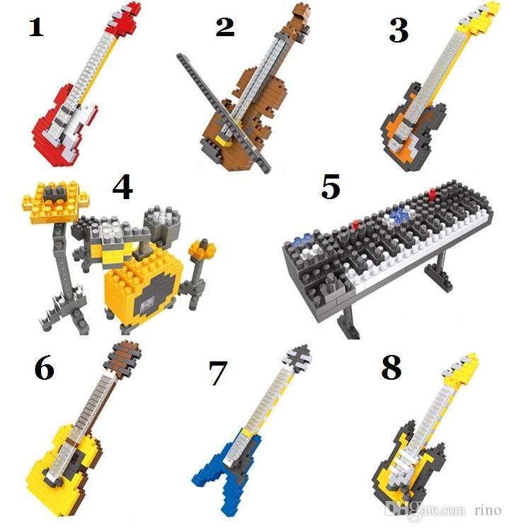 Blocos de construção de Brinquedos HSANHE Tijolos 3D Instrumentos Musicais Bloco de Construção de Diamantes Figuras de Ação Puzzles para Crianças