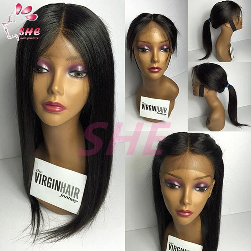 High quality lace front ponytail wigs silky straight glueless ...