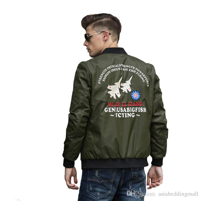 Men's Jackets American Air Force one MA1 Bomber Flying Jacket male Thin Style Military Pilot Flight jacket for Men Embroidered Outerwear