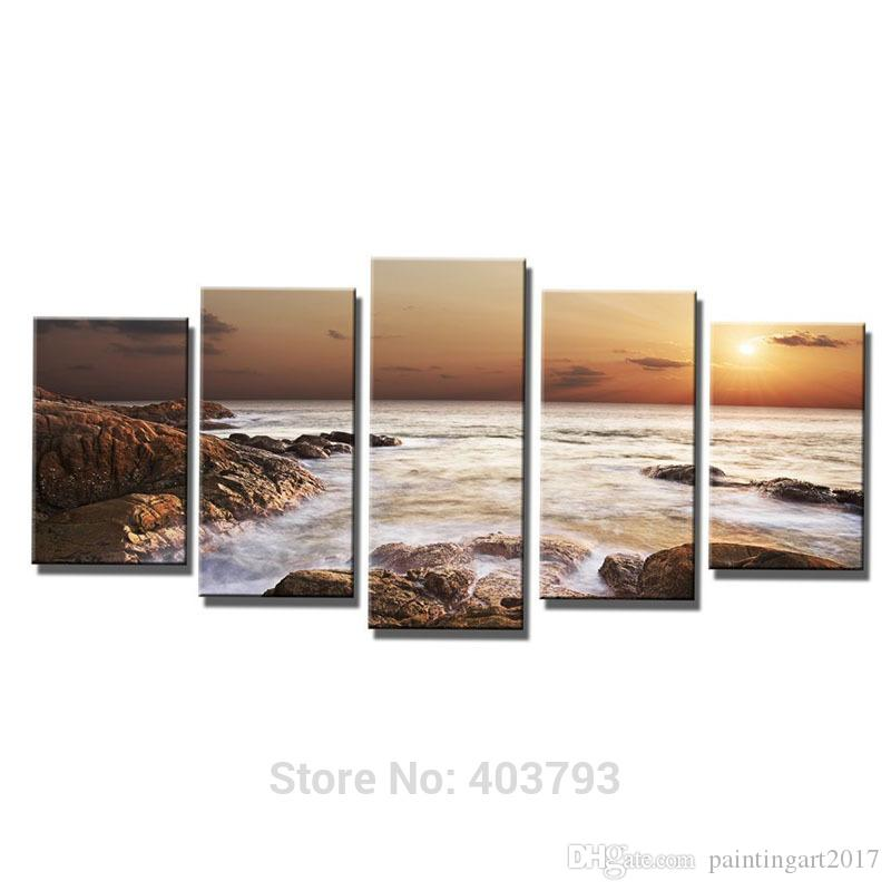 Wall Art The Rocky Sea Modern 5 Panels Seascape Canvas Prints Sea Beach Pictures Paintings On Canvas Home Office Decor