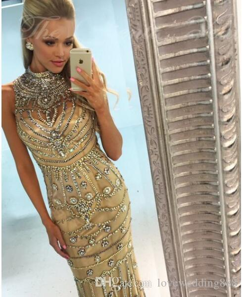 2018 Luxus Strass Kristall Champagner Meerjungfrau Prom Kleider High Neck Sleeveless Lange Abendkleid Pageant Outfit