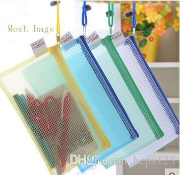 A4 waterproof grid data lovely stationery paper bag students receive bag transparent zipper envelope