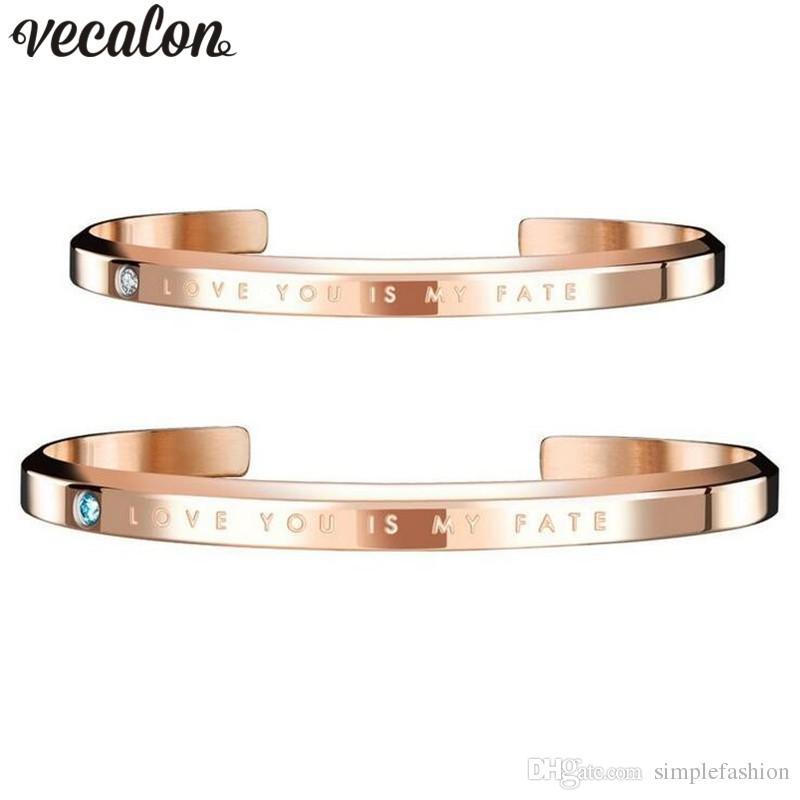 Vecalon 3 cores Fashion Lovers Anniversary Bangle cuff Simulado diamante Cz Titanium aço pulseira de casamento para mulheres homens presente